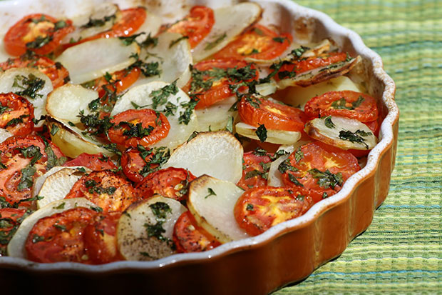 Baked Potatoes and Tomatoes