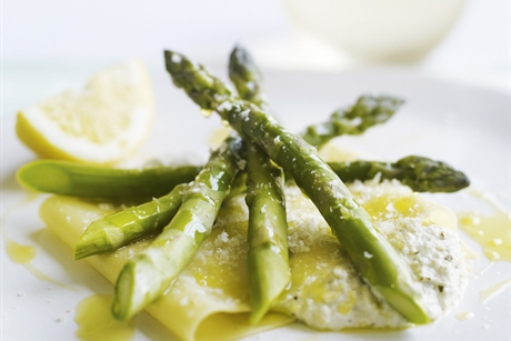 OPEN RAVIOLI OF ASPARAGUS AND RICOTTA