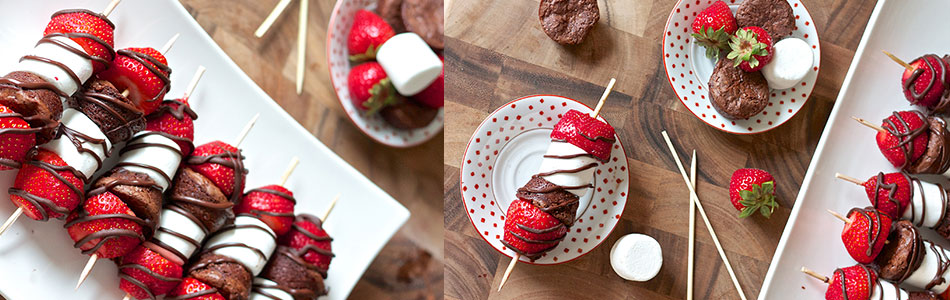 Strawberry brownie kabobs