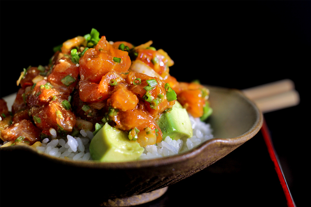 Hawaii-style salmon and rice
