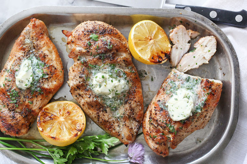 Grilled Chicken Breasts with Chive and Herb Butter