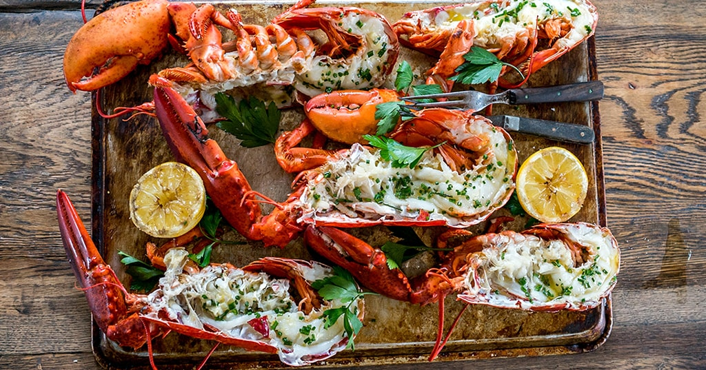 Grilled Lobster with Coconut Compound Butter