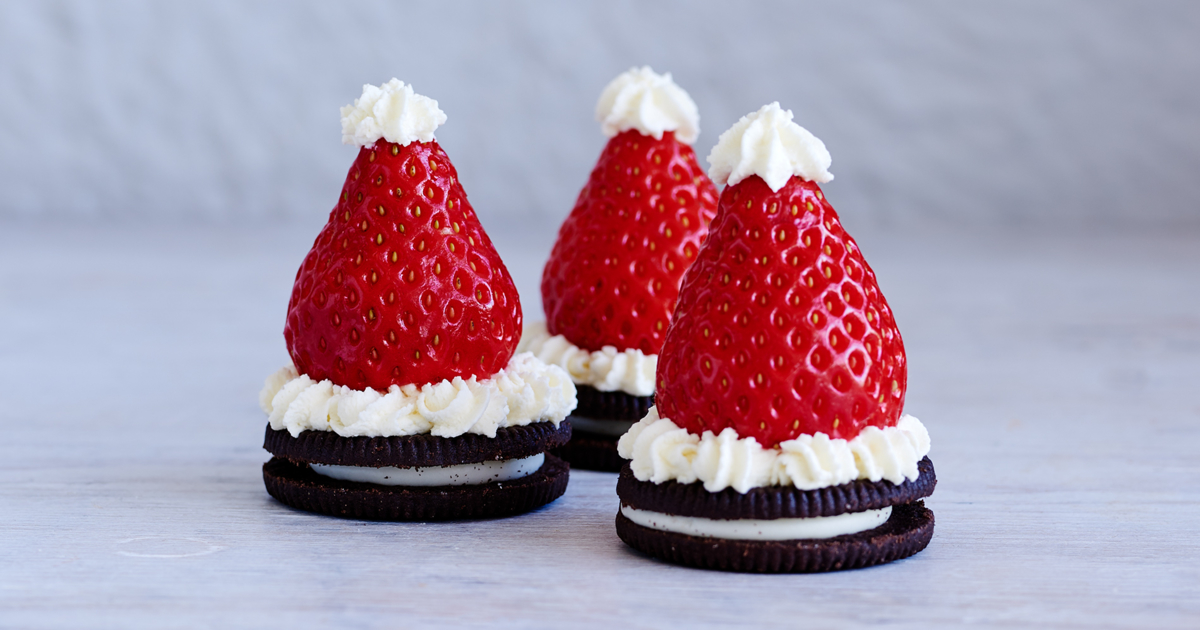 Chocolate biscuit Santa hats Recipe