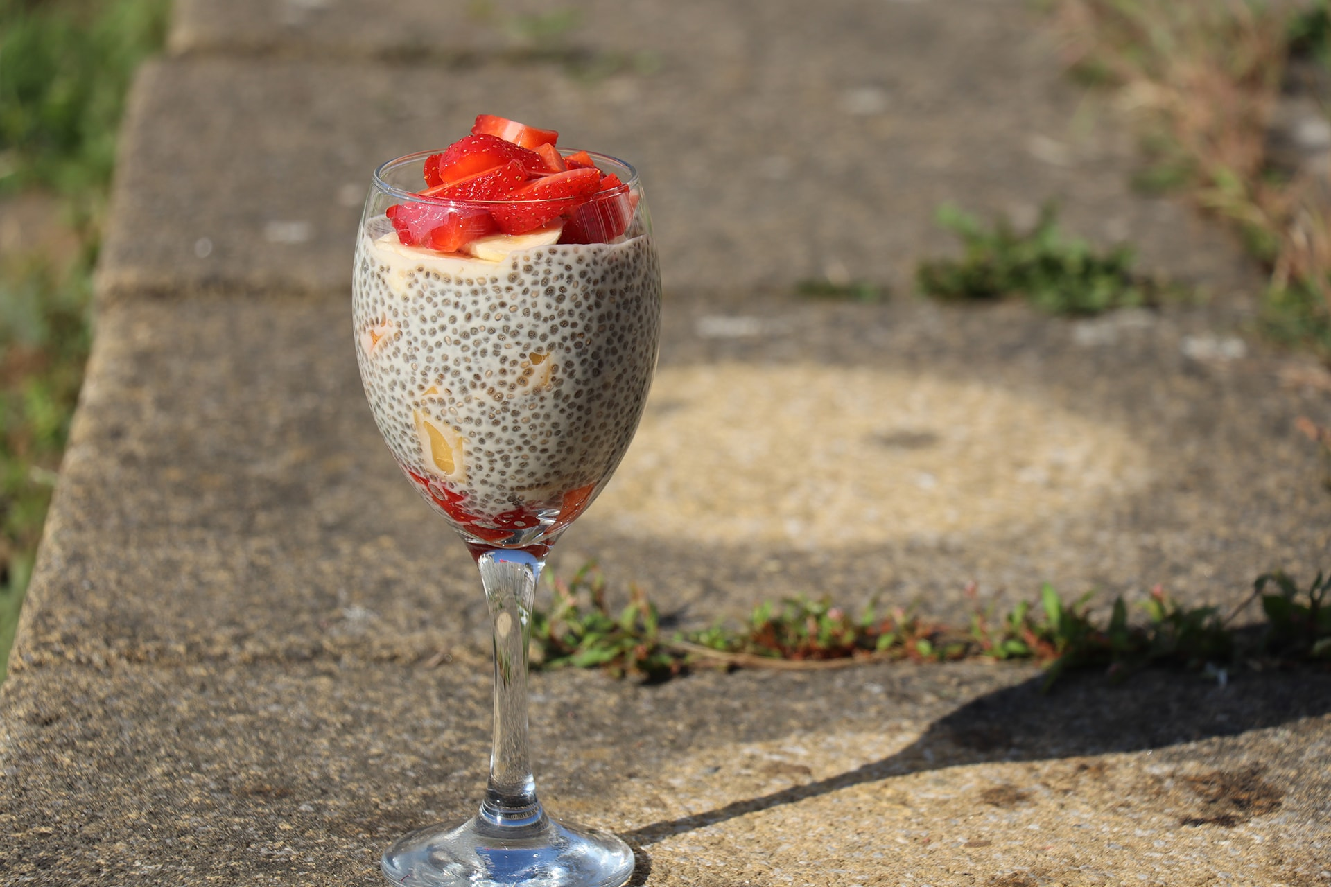Chia Seed Pudding with strawberries